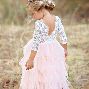 Embellished Lace Cascading Ruffle Tutu Dress